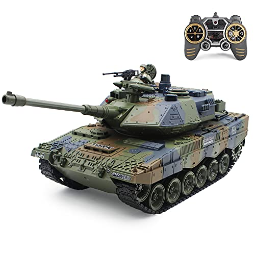 Fistone RC Tanks with Bullet Launch Function 1:18 Scale German Tiger Army 2.4G Remote Control Tank Toys for Kids Boys Girls