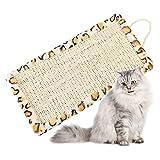 Hileyu Cat Scratching Mat 40x20.5cm Natural Sisal Mat Hanging Cat Scratching Board Leopard Cat Scratching Pad Cat Claw Grinding Mat Cat Scratch Toy for Wall Door Hanging Protecting Carpets Sofa