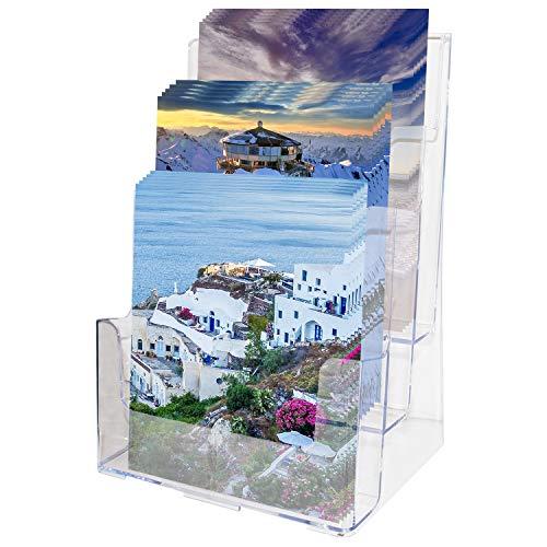 A4 Prospekthalter- 3-stufiger Prospekt Display-Ständer aus Klarem Acryl - H32xB23xD16 cm - Wandmontierter Halter für Flyer, Zeitschriften, Broschüren und Kataloge - Prospektständer, Flyerhalter