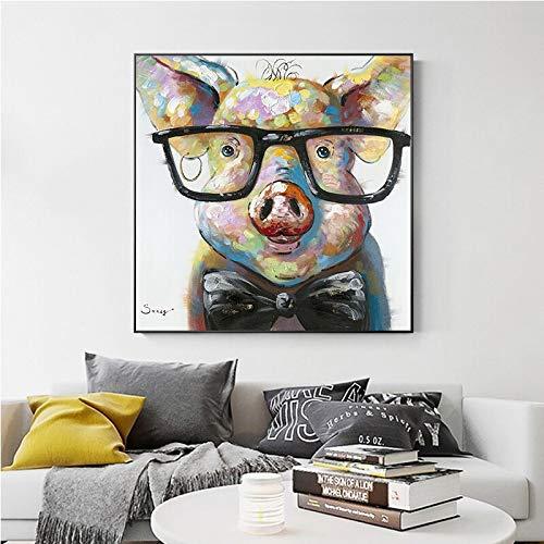 wZUN Pintura de la Lona Arte Cerdo impresión Arte de la Pared Animal Lindo Pintura al óleo Abstracta Sala de Estar Obras de Pintura decoración de la Lona 50x50 cm