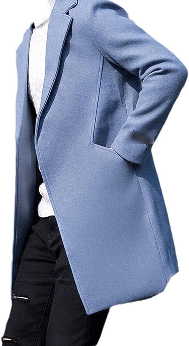 Autumn And Winter Men's Wool Coat Fashion Mid-Length Lapel Thick Warm Woolen Coat