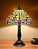 12 pulgadas de estilo vintage europeo Vidrieras coloreadas Libélula amarilla y perla Serie de color cálido Lámpara de mesa Lámpara de escritorio Lámpara de noche