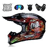 MRDEAR Casque Motocross Homme, Noir et Rouge, Adulte Casque Moto Cross Moto Set (5 Pcs) avec Doublure Amovible, Casque...