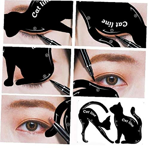 Amoyer 2pcs Eyeliner Pochoirs Outil Winged Eyeliner Modèles Stencil Modèle Outils Mise en Forme de Bricolage Sourcils modèle de Carte Eye Shadow