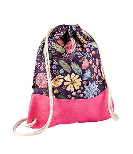 SIX Damen Tasche, Rucksack, Turnbeutel, Floral, Lederoptik, Kordeln, pink, lila, Multi, beige, Silber (726-570)