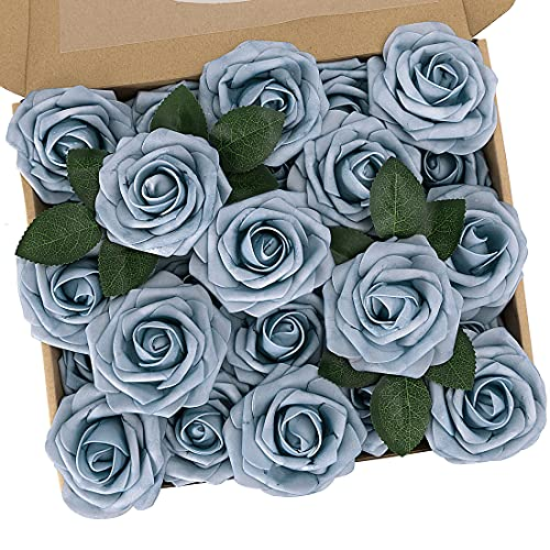 N&T NIETING Künstliche Blumen Rosen, 25 Stück Deko Blumen Fake Rosen mit Stielen DIY Brautjungfer Brautsträuße, Valentinstag, Muttertag, Hochzeitsfeier, Babyparty, Zuhause Dekoration, Staubiges Blau