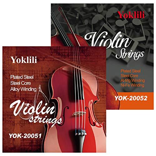 Saiten für Violinen, volle Größe 4/4 Mensur, massiver Stahlkern, mit Kugelende, E A D G, 2 Stück
