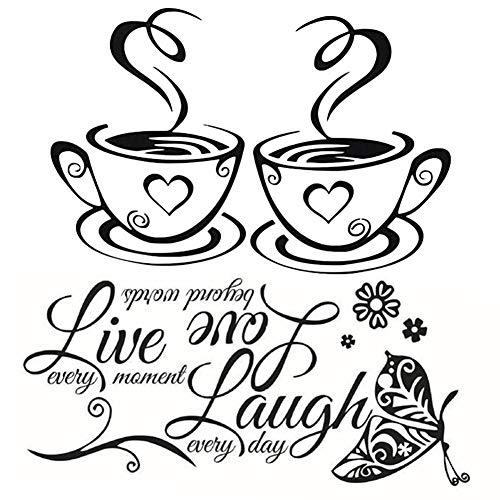 BESLIME Adesivi da caffè, Tazze da caffè da tè Cucina parete adesivo vinile tazzine decalcomania arte Ristorante Bar Decor, 2pcs