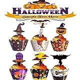 48 Piezas Halloween Decoraciones Inserción Papel Cupcake Topper Selecciones Fantasma Simple, para Decoración de Galletas, Fruta, Decoración Temática de Halloween