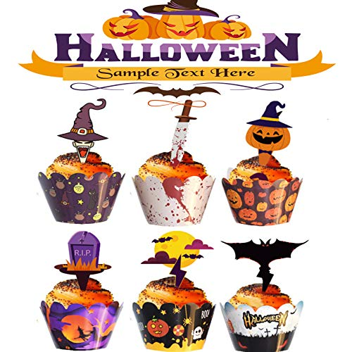 48 Piezas Halloween Decoraciones Inserción Papel Cupcake Topper Selecciones Fantasma Simple, para Decoración de Galletas, Fruta, Decoración Temática de Halloween