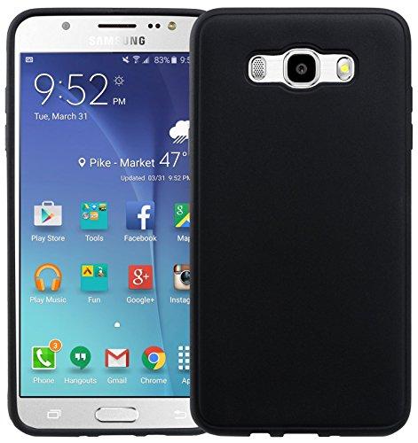 Movoja Custodia per Samsung Galaxy J7 2016, Colore Nero Opaco, Stile Famoso, Diversi Colori opachi per Samsung GalaxyJ7 Cover Apple Samsung Galaxy-J7 Nero Opaco