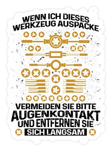 shirt-o-magic Aufkleber Mechaniker: Vorsicht bei diesem Werkzeug - Sticker - 20x20cm - Weiß
