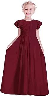 Flower Girl Dress Chiffon Flutter Sleeve Holy Communion Dress Junior Bridesmaid Dress