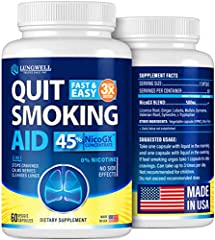 QUIT SMOKING WITH EASE - If you ever had trouble stop smoking - we have exactly what you need! LUNGWELL Quit Smoking Aid is a perfect herbal treatment with a 3-in-1 action: our vegan capsules reduce cravings, relieve stress from it, and clear lungs. ...
