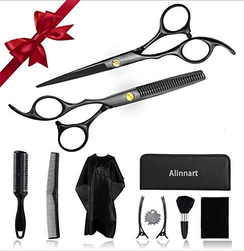 Alinnart Hair Scissors Kit 11PCS Thinning Shears Haircut Scissors Professional Barber Shears for Women, Men, Kids, Pets at Home