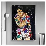 RHWXAX Concurso de Pintura de Arte de Graffiti Ganador Boxer Lienzo Pintura Sala de Estar Dormitorio Arte de Pared Decoración de Interiores Pintura 20x28 Inch Sin Marco