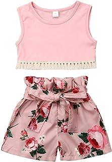 Nensiche Fashion Summer Floreale Bambino Bambino Ragazze Camisole Tops+Bretelle Gonna Vestito Abbigliamento