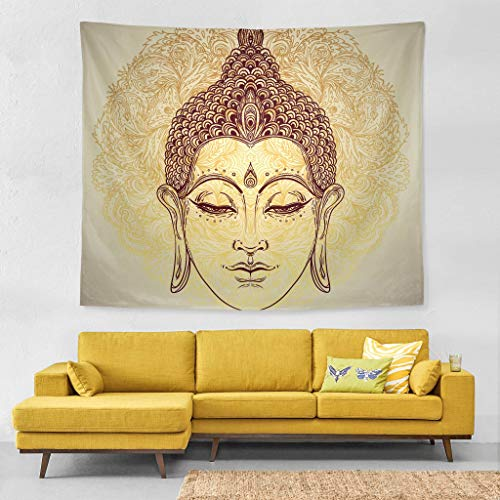 Wall Tapestry Beautiful Ornate Head of Buddha Livingroom Exclusive Decor Wall Hanging Art 60x51 Inches Horizontal Wall Backdrop Blankets for Bed Room Divider