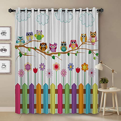 Darkening Blackout Curtain for Bedroom - 24 inch Long Window Treatment Curtain Drapes Modern Art Design for Living Room - Cartoon Colorful Owe and Fence Pattern Decoration Design
