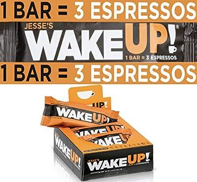 WAKE UP (1 Bar = 3 ESPRESSOS): Gluten Free Energy Bar, 250mg of Plant Based Caffeine to Boost Brain Focus, Clarity, Sustained Energy Fuel: 110 Calories, Kosher, Vegan, Non GMO, Dark Chocolate Flavor Rice Crisp: 6 Pack: Jesse's Wake Up Bar