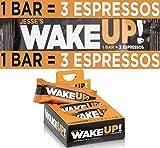 WAKE UP (1 Bar = 3 Espressos): Gluten Free Energy Bar, 350mg of Plant Based Caffeine to Boost Brain Focus, Clarity, Sustained Energy Fuel: 100 Calories, Kosher, Vegan, Non GMO, Dark Chocolate Flavor Rice Crisp: 6 Pack: Jesse's Wake Up Bar