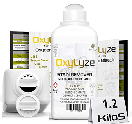 OXYGEN BLEACH SODIUM PERCARBONATE Stain Remover - OxyLyze - DECKING CLEANER - Multiple Use Instructions - DECK PATIO CLEANER, MOULD and ALGAE REMOVER LAUNDRY and GENERAL CLEANER - 1.2 Kilograms