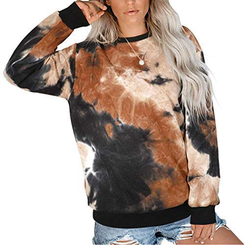 SUUKSESS Women Tie Dye Sweatshirts Bleach Dye Crewneck Long Sleeve Pullover Shirts Top (Black, M)