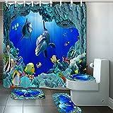 SHUOFUSH Ocean Design Dolphin 4 en 1 Tela Impermeable baño 3D Juego de Cortina de Ducha con Cubierta de Inodoro Antideslizante alfombras Alfombra decoración del hogar