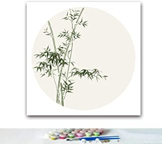 WSKRFFT DIY Oil Painting by Numbers For Adults Kids Chinese Style Green Bamboo Drawing Set For Beginner Pastime Home Decorations Gifts, 40 * 40Cm,No Frame