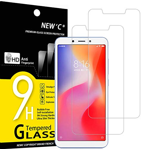 NEW'C 2 Unidades, Protector de Pantalla para Xiaomi Redmi 6, Xiaomi Redmi 6A, Antiarañazos, Antihuellas, Sin Burbujas, Dureza 9H, 0.33 mm Ultra Transparente, Vidrio Templado Ultra Resistente