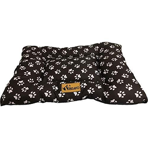 BRAVO. Cuccia per cani, divano per animali domestici, materasso rettangolare imbottito di colore nero, con impronte confortevole, per cani di taglia piccola, media e grande, (S-80 x 60 cm)