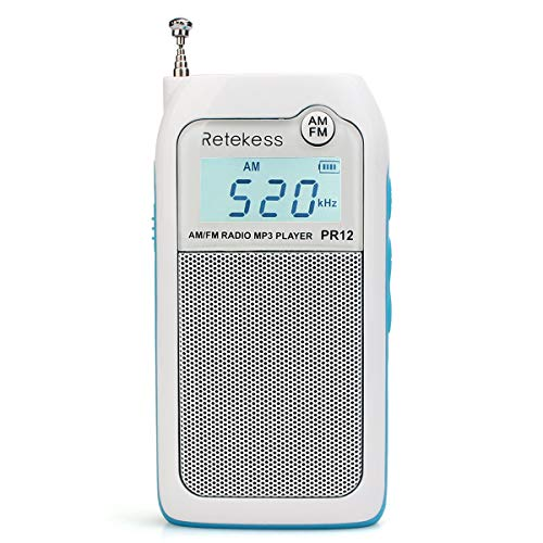 Retekess PR12 Mini AM FM Radio with Speaker Personal DSP Radio DSP Support TF Card and Rechargeable Battery for Walking Jogging (White)
