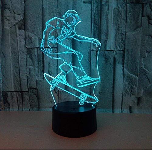 Skateboard 3D Lampe 20 Farbe LED Nachtlichter Baby Schlaf Beleuchtung Touch USB Tischlampe für Skateboard Fans Geschenk
