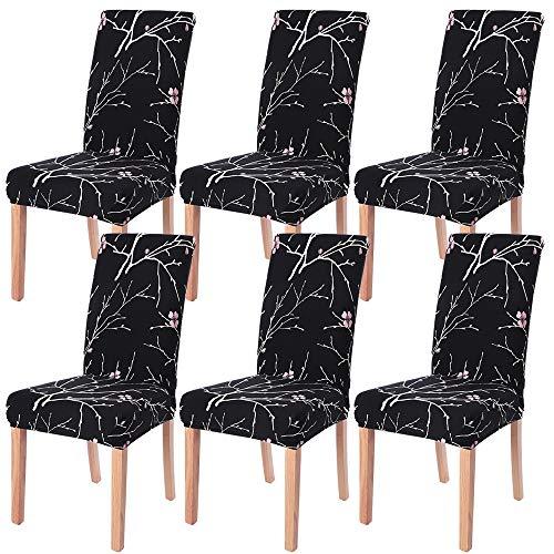 NIBESSER 4er/6er Set Stuhlhussen Stretch Stuhlbezug elastische Moderne Husse Dekoration Stuhlüberzug für Universelle Passform (B, 6er Set)