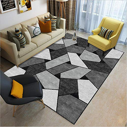 Area Rugs for Living Room Modern Carpet Home Decorate Non Slip Mat Geometric mosaic of black and gray squares 200X300CM(6.6ft x 9.8ft)