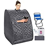 usuallye Steam Sauna Spa 2L Portable Foldable Personal Therapeutic Sauna Tent Pot for Weight Loss Detox Reduce Stress Fatigue with Remote Chair Indoor Home (Silver)
