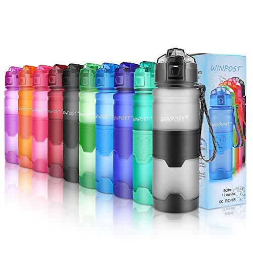 WINPOST Botella de Agua Deporte 400ml/500ml/700ml/1l, sin bpa tritan plastico, Reutilizables a Prueba de Fugas Botellas Potable con Filtro para niños