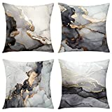 GALMAXS7 Marble Texture Black and Gold Silver Decorative Throw Pillow Covers Luxury Abstract Fluid Art Ink Soft Velvet Pillow Case Square Cushion Covers for Couch Living Room 18 x 18 Inch Set of 4
