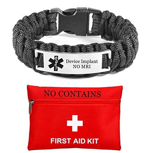 Customized Medical NO MRI Device Implant Awareness Bracelet for Outdoor Indoor Emergency Paracord ID Alert Wristaband for Men,23cm,Black