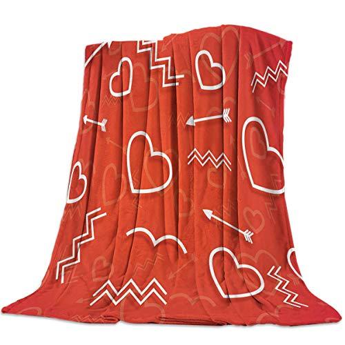 AEMAPE Manta Suave para sofá Cama, sofá, día de San Valentín, Ondas de Flecha en Forma de corazón, Ligera Manta de Viaje para Acampar, cálida y acogedora, 50 'x 60'