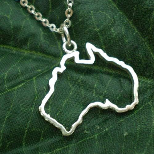 CAISHENY Collar de Mapa de geografía Urbana Nacional de Australia con Contorno Hueco - Sydney Melbourne Perth Brisbane Tasmania Geek Jewelry