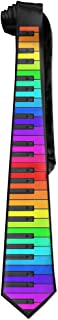 Y-WBS Rainbow Piano Sound And Music Activated LED Novelty Light Up Necktie Skinny Ties