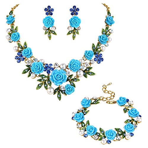 EVER FAITH Crystal Simulated Pearl Rose Flower Leaf Necklace Earrings Bracelet Set Blue Gold-Tone