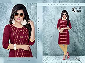 Pure Branded Cotton Kurta & Kurtis Tops For Women Casual Wear-Large(Size)-Burgundy Red