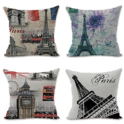 KaiXINSun Throw Pillow Cases Paquete De 4 Funda De Almohada De 18X18 Pulgadas Funda De Sofá Decorativa De Casa Cuadrada Cremallera Invisible 45X45Cm Flor De Torre