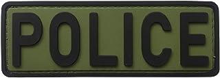 """uuKen Police Patch 4""""x1.4"""" Back for Vest and Backpacks Hook Fastener Backing (OD Green and Black)"""