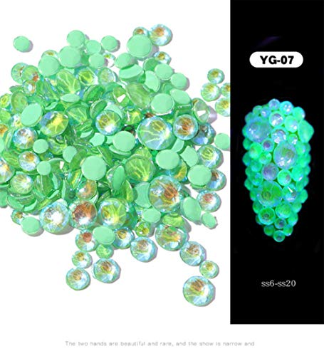 Mixed Size SS6-SS20 oplichtend kristallen nagel kunst strass decoraties 3D glitter diamond Jewelly Glow In The Dark ornamenten 1pack