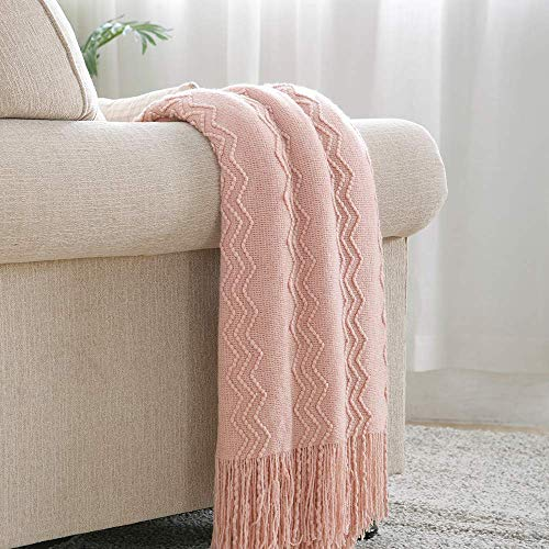 Bourina Textured Solid Soft Sofa Throw Couch Cover Knitted Decorative Blanket, Pink, 60x80