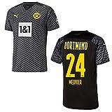 PUMA BVB Borussia Dortmund Trikot Away Kinder 2022, Größe:140, Spielerflock (zzgl. 12.90EUR):24 Meunier
