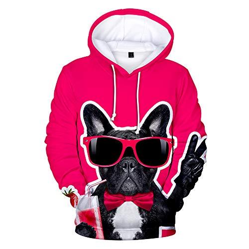 PLMNK Bulldog Sudadera con Capucha de patrón de Anime de Dibujos Animados en 3D, suéter con Cremallera Suéter Unisex 3XL